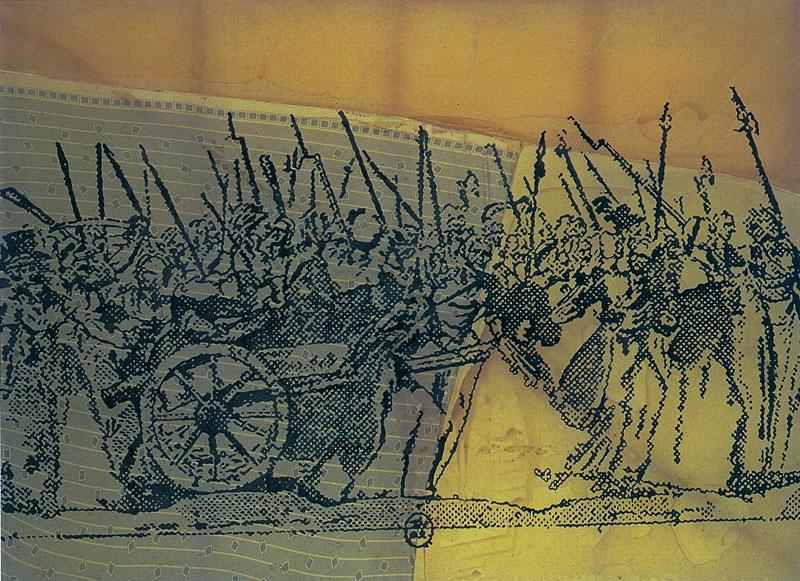 Sigmar Polke, À Versailles, à Versailles, 1988, matériaux divers sur tissu, 223 x 300 cm