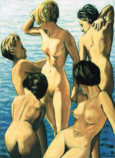 Francis Picabia, Cinq femmes (Five Women), c. 1942, oil on paper mounted on canvas, 39.8 × 29.5 in.