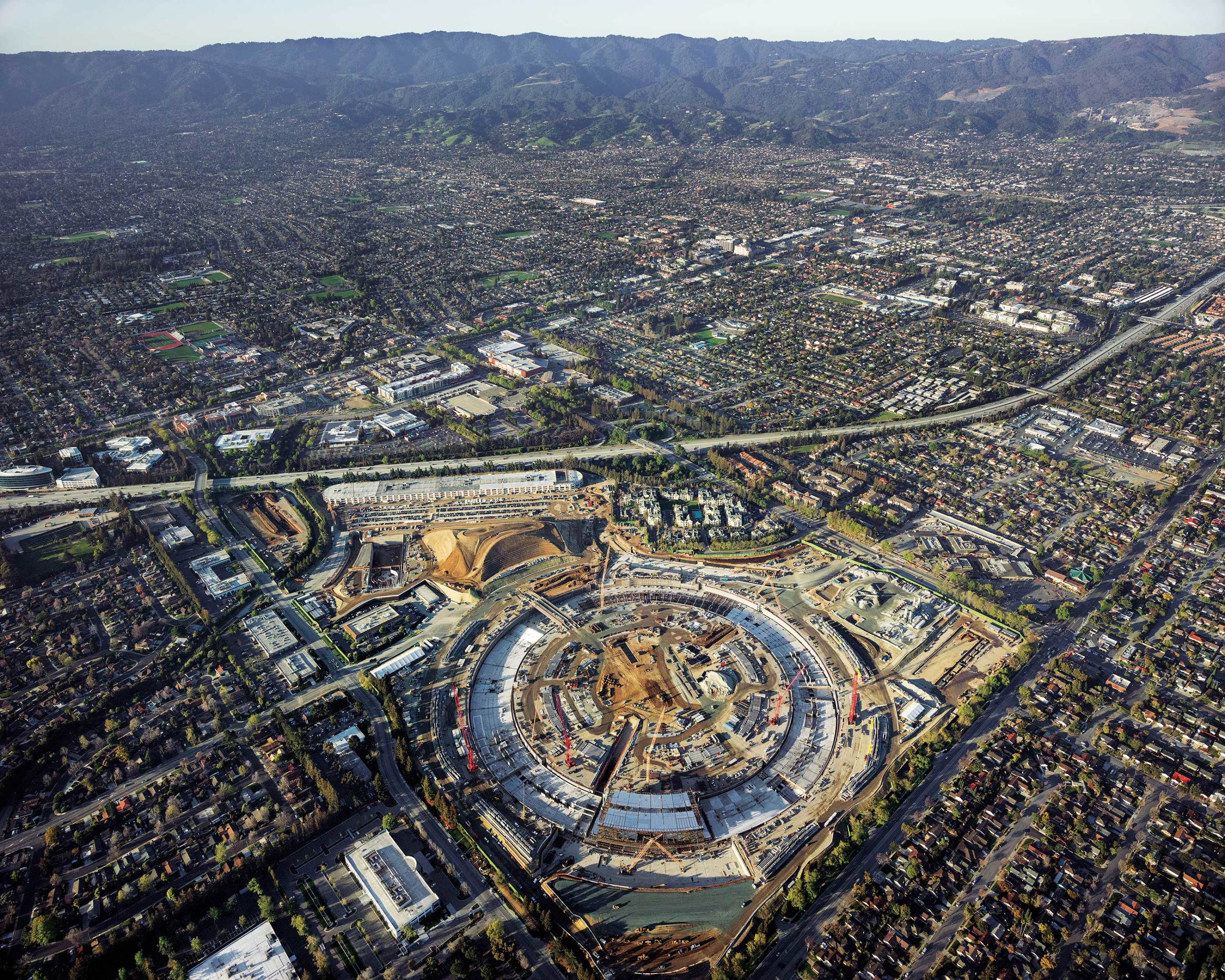Proposal for Apple Park, future headquarters of Apple Inc. in Curtino, California, presented in 2011, expected to be completed by the end of 2017