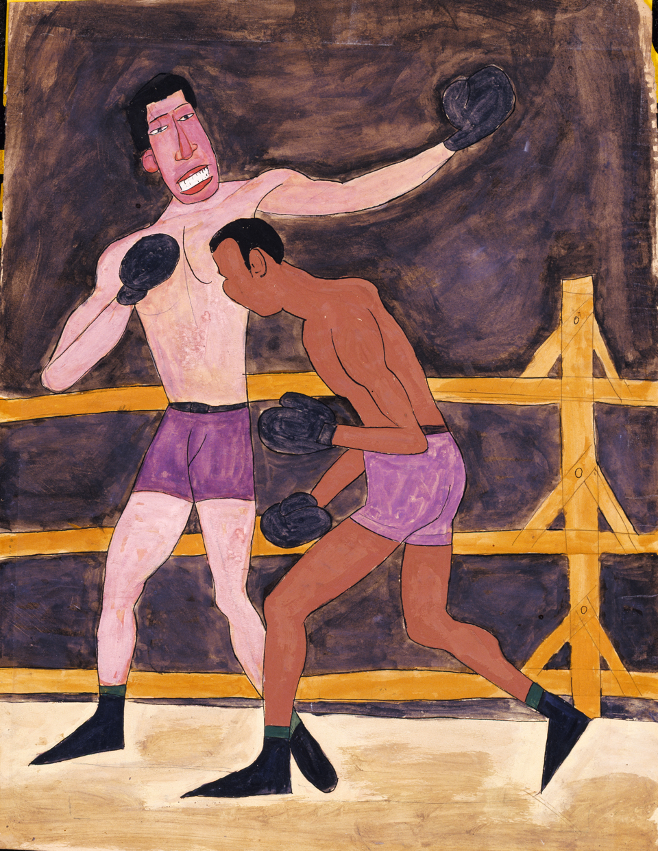 William H. Johnson, Joe Louis and Unidentified Boxer, c.1939-42, tempera, pen and ink on paper, c. 20.5 × 15.3 in.