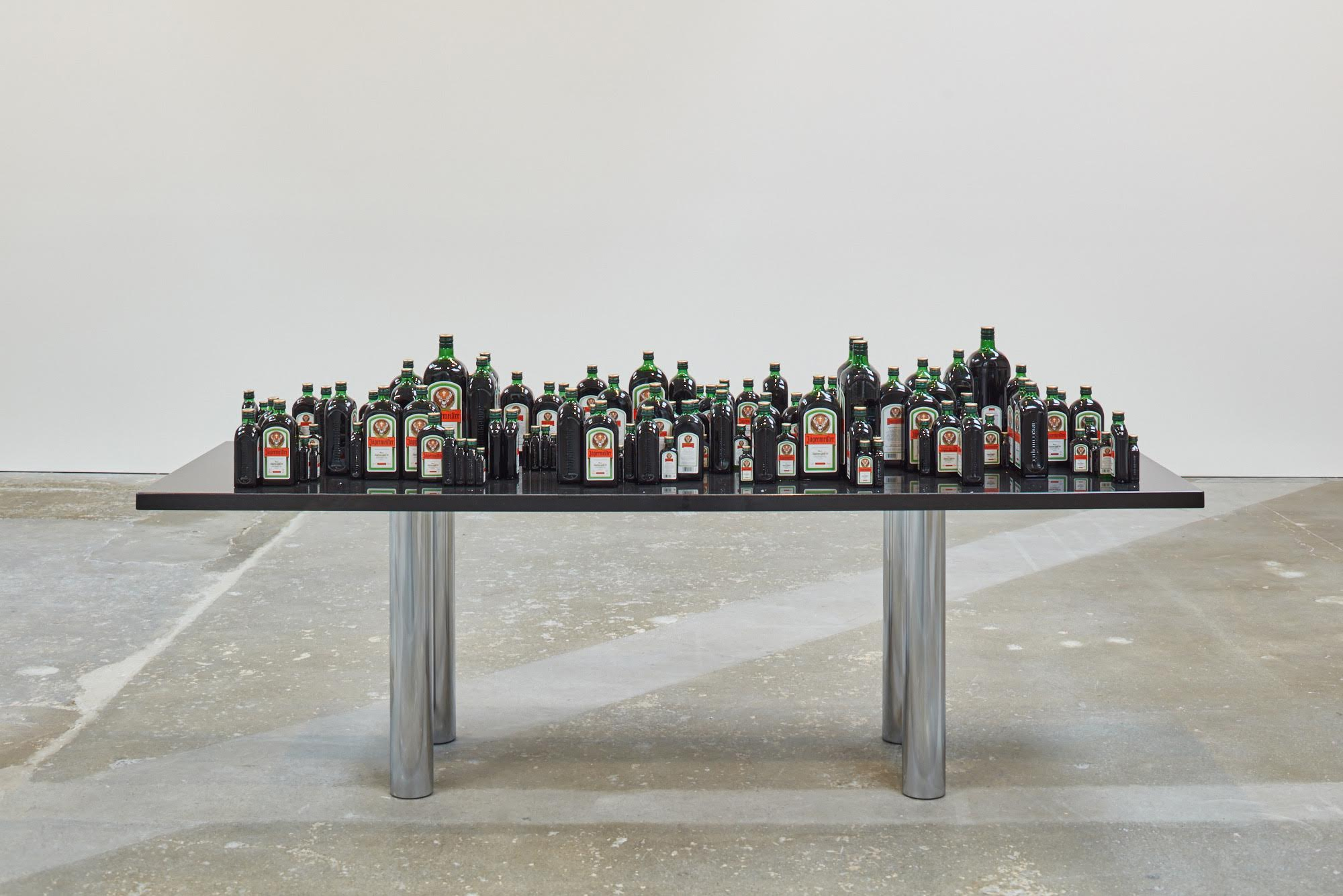 Yuki Kimura, Table Matematica, 2016, granite, steel, wood, Jägermeister bottles