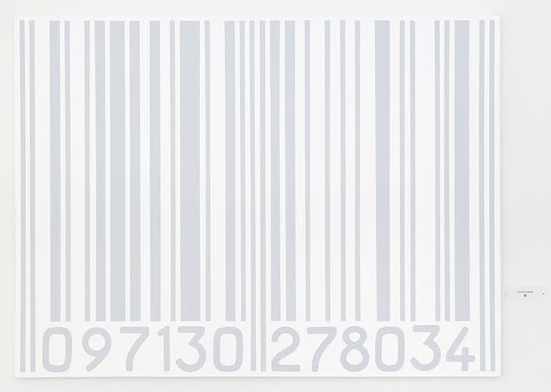 Vincent Wapler ®, 097130 278034, 1990, acrylique sur toile (gris sur blanc),  cartel avec texte : «VINCENT WAPLER ®», toile : 97 x 130 cm, cartel : 4,5 x 11 cm